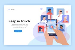 Video call and online conference concept illustration. Hands holding phone with internet communication app. Vector flat design.