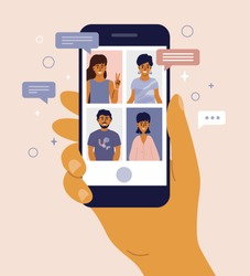 Video call between friends, chatting online by mobile app. Stay at home, work, communication remotely. Hand holding smartphone. Group of people on device screen. Internet messenger vector illustration