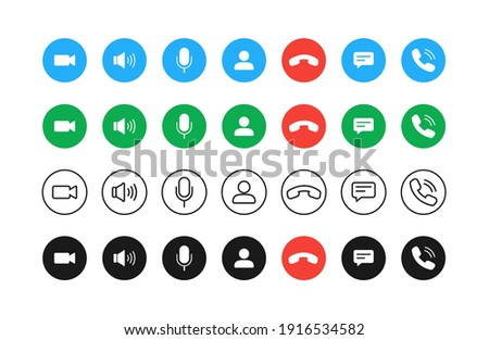 Video call buttons set. Collection of internet conversation buttons. A set of video communication elements.
