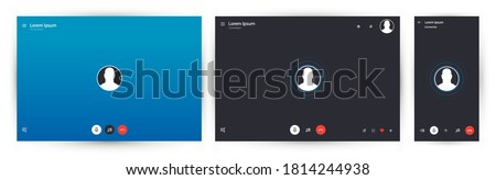 Video call chat app. Mockup video calls window overlay. Vector illustration UI, UX, KIT and web app. Call screen template. Standard screen for calls and video communications on PC. Vector illustration