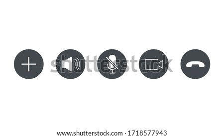 Video call icons set , Vector Illustration.