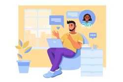 Video call illustration with young couple communicating online, laptop, home interior. Virtual distant relationship meeting concept with young man and woman in armchair. Video call vector banner