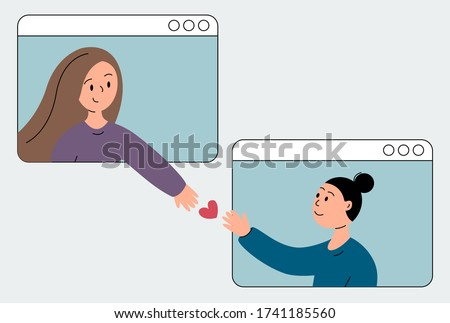 video call mother with daughter online/ two girlfriends conversation on zoom, love and support through distance, vector flat illustration EPS