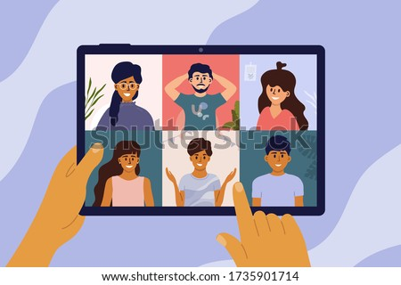 Video call of group of people. Hands holding digital tablet with online conference on screen. Friends virtual party, remote meeting of colleagues, teamwork. Social media community vector illustration.