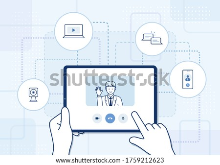 Video call on tablet illustration: hand holding tablet and finger touching screen, business video conferencing, online learning network, social distancing
