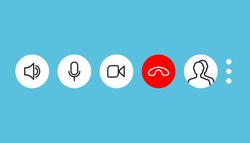 Video call screen template. Video cal icons set. Vector illustration