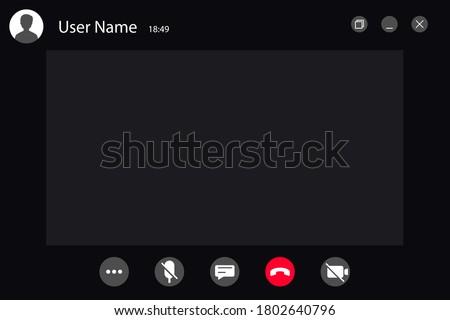 Video Call screen template. video call black Interface for social communicat - vector
