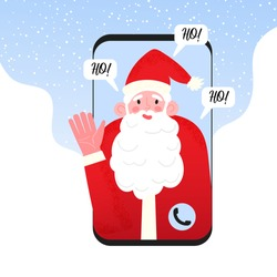 Video call to Santa Claus. Merry Christmas and Happy New Year greetings through incoming call and online video chat. Concept of virtual Xmas during pandemia lockdown