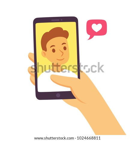 Video call with loved one. Female hand holding smartphone with boyfriend on screen. Online dating, long distance relationship concept. Flat cartoon vector illustration.