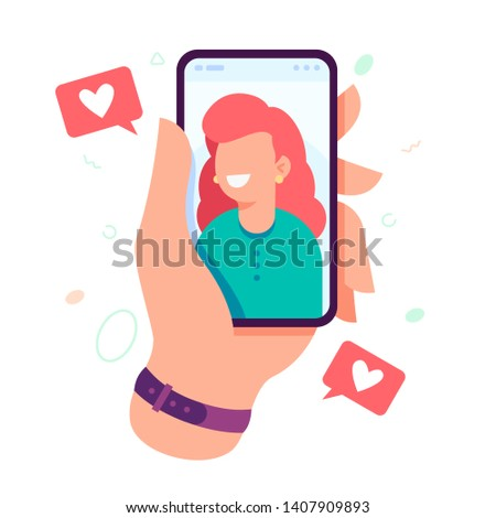 Video call with loved one. Male hand holding smartphone with girlfriend on screen. Finger touch screen. Video call concept. Vector flat cartoon illustration for web sites and banners design.