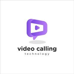 video calling 3d logo design template for virtual technology
