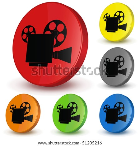 Video camera. Different variants of colours. Vector 3D button. - stock vector
