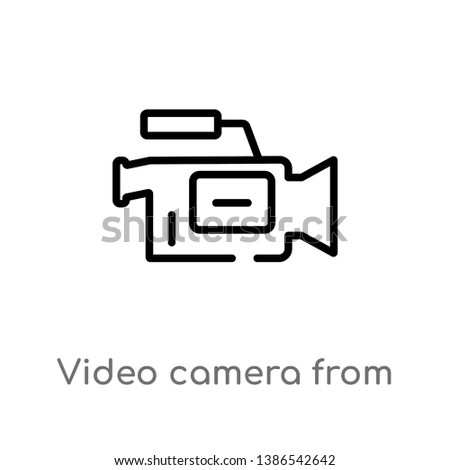 video camera from side view vector line icon. Simple element illustration. video camera from side view outline icon from side view vector icon. isolated black simple line element illustration from use