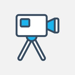 Video camera icon designed in a flat style