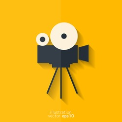 Video camera icon. Media symbol. Flat design.