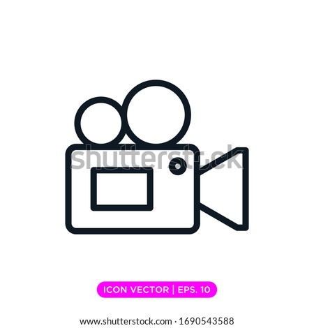 Video camera icon vector design with editable stroke Сток-фото ©