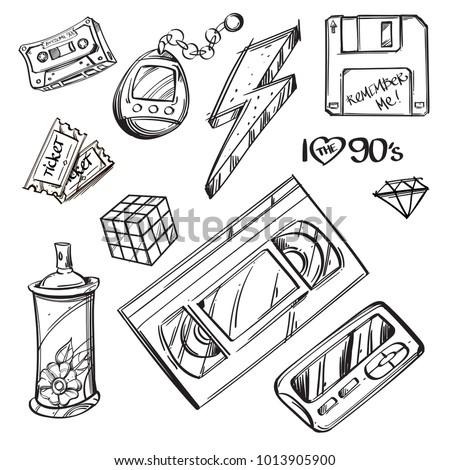 Video cassette, diskette, tamagotchi, Rubik's cube, graffiti spray, ticket, lightning. Set of outline vector illustrations isolated on white background.