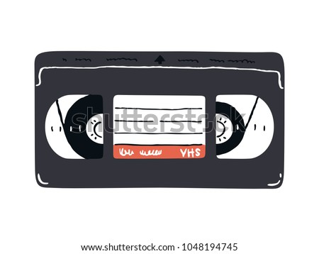 Video cassette doodle illustration. Obsolete technology. Vector. Nostalgia 90s.