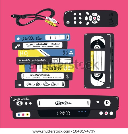 Video cassette player and related objects. Vector illustration. Nostalgia from the 90s.