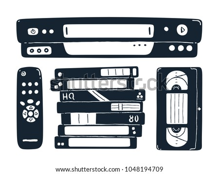 Video cassette recorder, remote control and blank video cassettes. Black and white vector illustration.