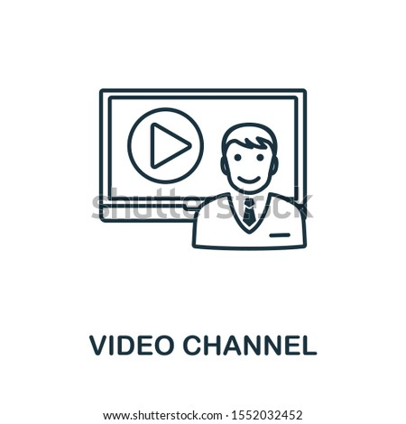 Video Channel icon outline style. Thin line creative Video Channel icon for logo, graphic design and more.