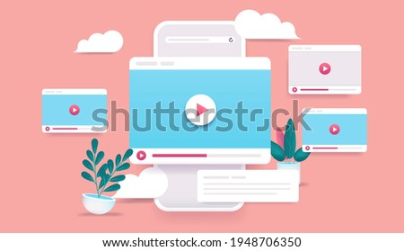 Video channel online - 3d vector style phone with video windows flying in air. Internet video clips and tube concept. Illustration.