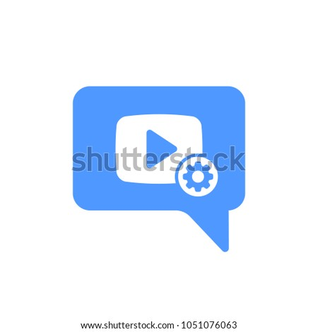 Video Chat icon with settings sign. Video Chat icon and customize, setup, manage, process symbol. Vector icon