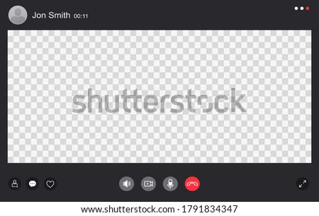 Video chat interface, user web video call window. Concept of social remote media, remote communication, video content.