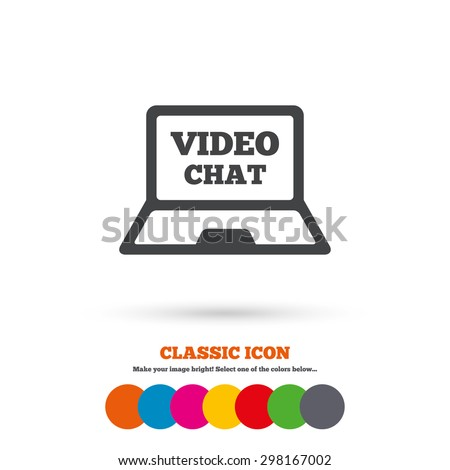 video chat laptop sign icon
