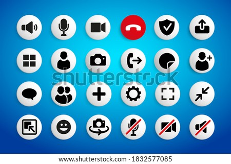 Video chat user interface icons set. Video conference. Communication. Vector illustration of video call icons