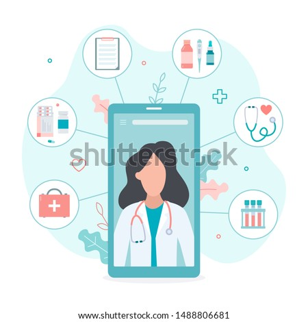 Video chat with a doctor for any medical problems. Online doctor concept. Flat vector illustration. #1488806681