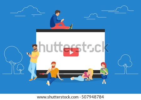 Video concept illustration of young people using mobile gadgets, tablet pc and smartphone for live watching a video via internet. Flat design of guys and women staying near big player symbol