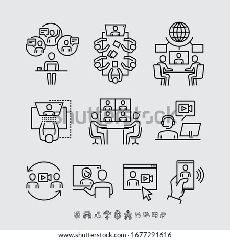 Video Conference Call Communication Vector Line Icons