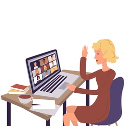 Video conference call via computer. Home office. Stay at home and work from home concept during Coronavirus pandemic. Vector. Cartoon illustration.
