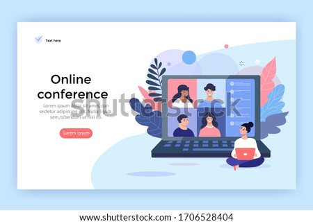 Video conference concept illustration. Young women using computer for a online meeting with friends. Landing page design