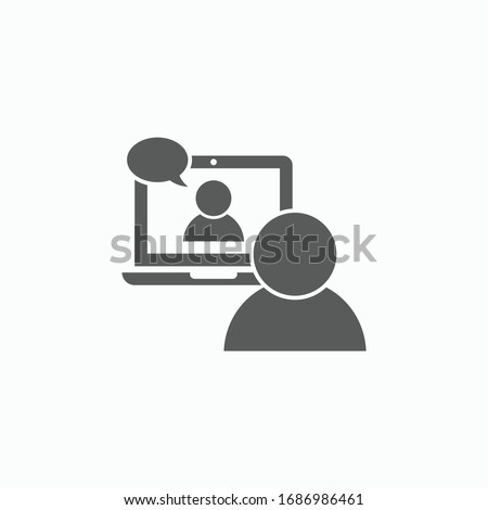 video conference icon, video chat vector, video call illustration