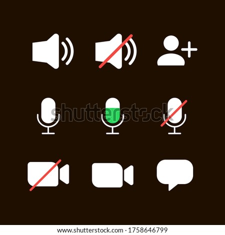 Video conference icons. Icons for sound, video, chat