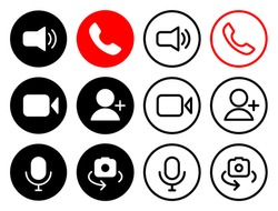 Video conference icons set/ Online meeting icons set