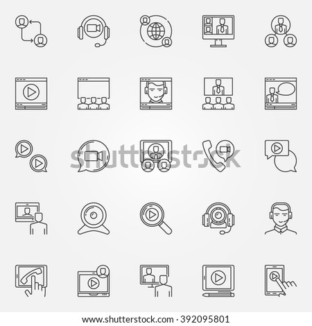 video conference icons set