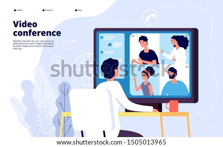 Video conference landing. People on computer screen taking with colleague. Videoconferencing and online meeting workspace vector page