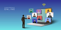 Video conference meeting online concept. Leader meeting online with employees on  computer laptop.Vector illustrate.