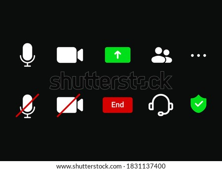 Video conference mobile-app icon set incuding sound-on and mute, microphone, camera on and camera off . Virtual meeting mobile-app icon set.