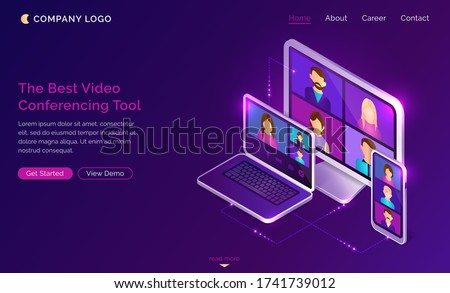 Video conference online call isometric landing page, colleagues business people team using conferencing tools for smart gadgets and webinar communication, learning or chatting, 3d vector web banner