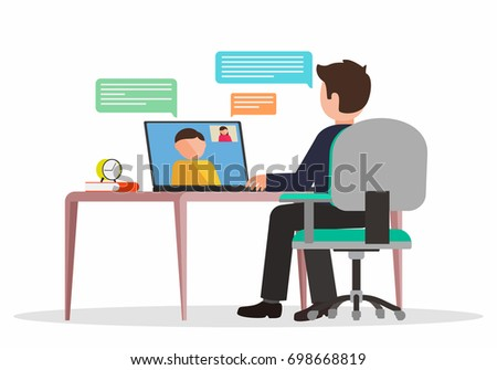Video conference. Online consulting and training concept. Cartoon character. Vector