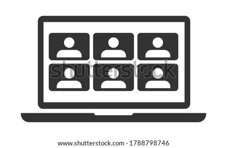 Video Conference Online Meetings Teleconference on Laptop Icon Virtual Chat Symbol Sign. Suitable for Online School Class, Work from Home WFH, Web Seminar or Webinars & Student Group Infographic