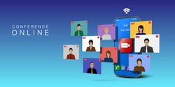 Video conference online on smartphone. Concept online meeting.