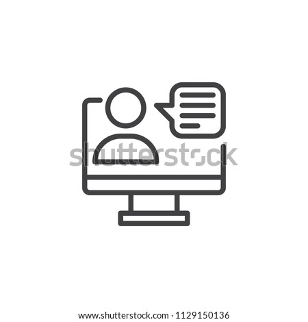 Video conference outline icon. linear style sign for mobile concept and web design. monitor user simple line vector icon. Symbol, logo illustration. Pixel perfect vector graphics
