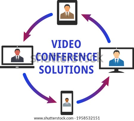 Video conference system illustration vector isolated on white background. Businessmen of different ethnicities chatting online on phone, tablet and computer. Teleconference, meeting, chat concept.