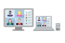 Video conference Teams call with remote workers joining a virtual business meeting across multiple devices. People group on screen.
