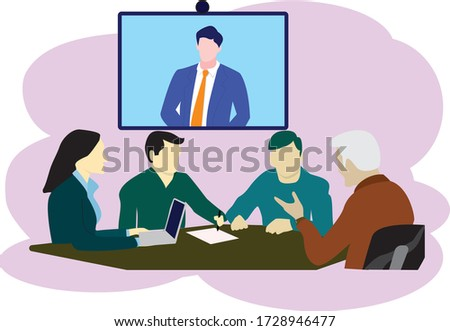 Video conference to avoid the virus. People on computer screen taking with colleague. Videoconferencing and online meeting workspace vector flat icon